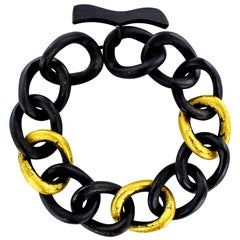 African Ebony Golden Leaf Bracelet
