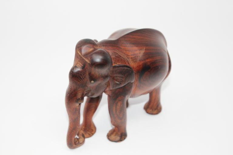African Ebony Wood Hand Carved Elephant For Sale 4