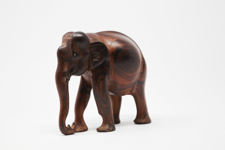 Hand carved wood ebony African elephant.