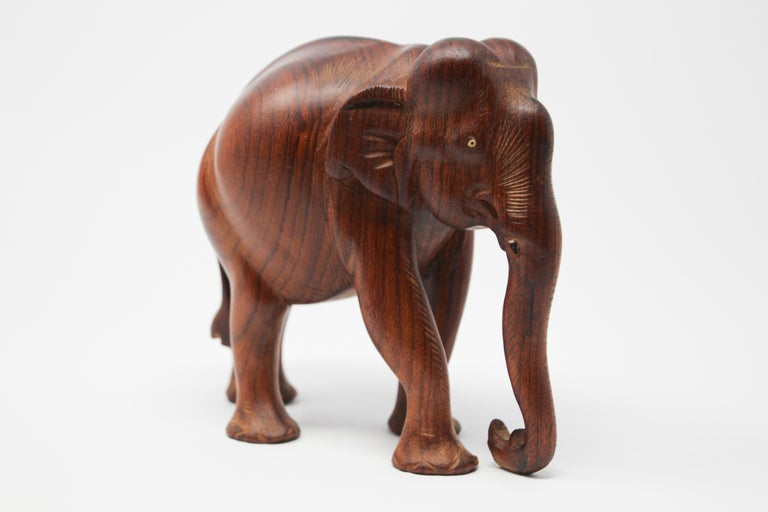 Tribal African Ebony Wood Hand Carved Elephant For Sale