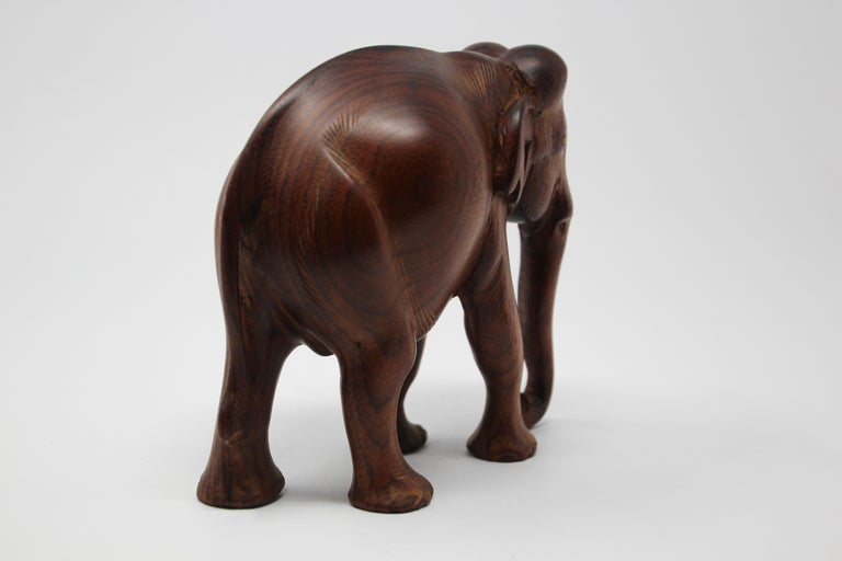 African Ebony Wood Hand Carved Elephant In Good Condition For Sale In North Hollywood, CA