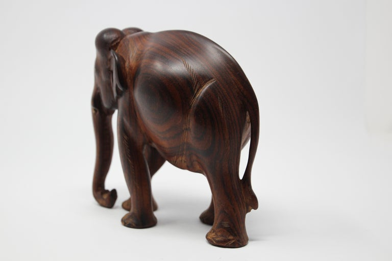 20th Century African Ebony Wood Hand Carved Elephant For Sale