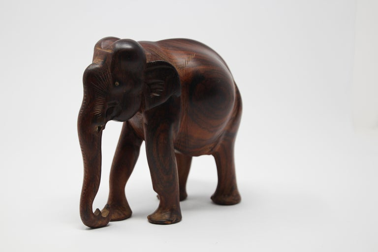 African Ebony Wood Hand Carved Elephant For Sale 1