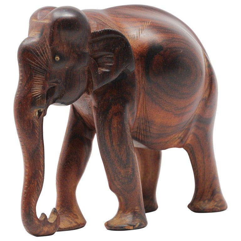 African Ebony Wood Hand Carved Elephant For Sale