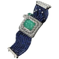 African Emerald, Ceylon Sapphire and Diamond Watch-Bracelet