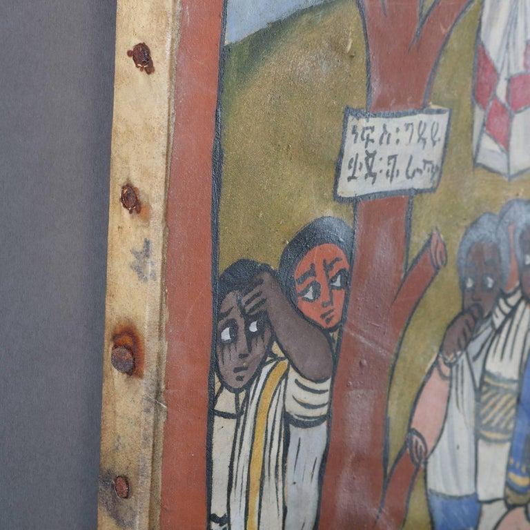 African Ethiopian Tribal Folk Art Oil on Hide Painting, 20th Century For Sale 6
