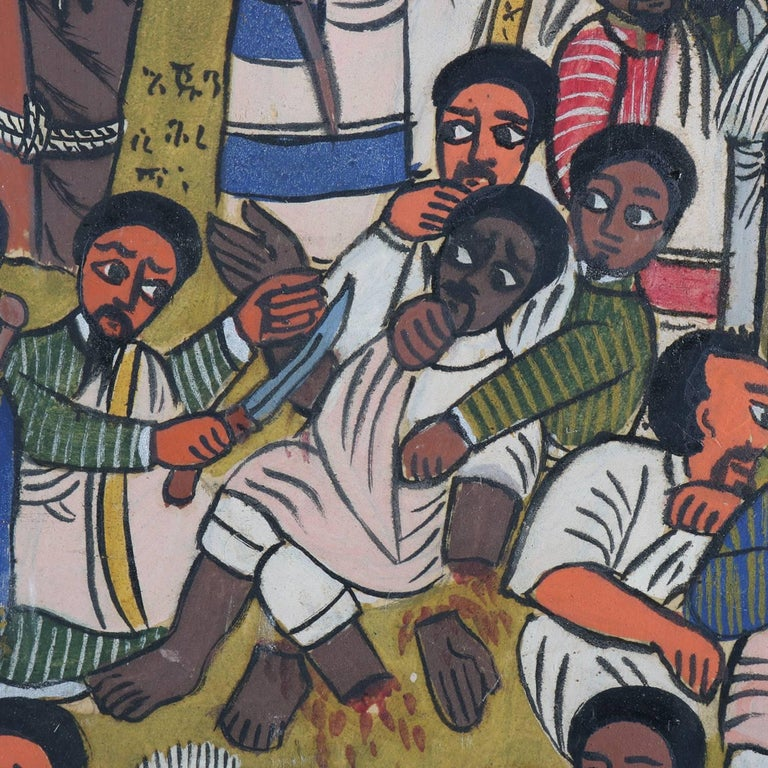 Hand-Painted African Ethiopian Tribal Folk Art Oil on Hide Painting, 20th Century For Sale