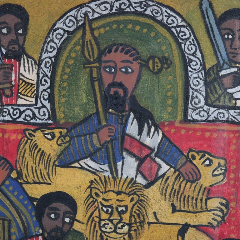 African Ethiopian Tribal Folk Art Oil on Hide Painting, 20th Century In Good Condition For Sale In Big Flats, NY