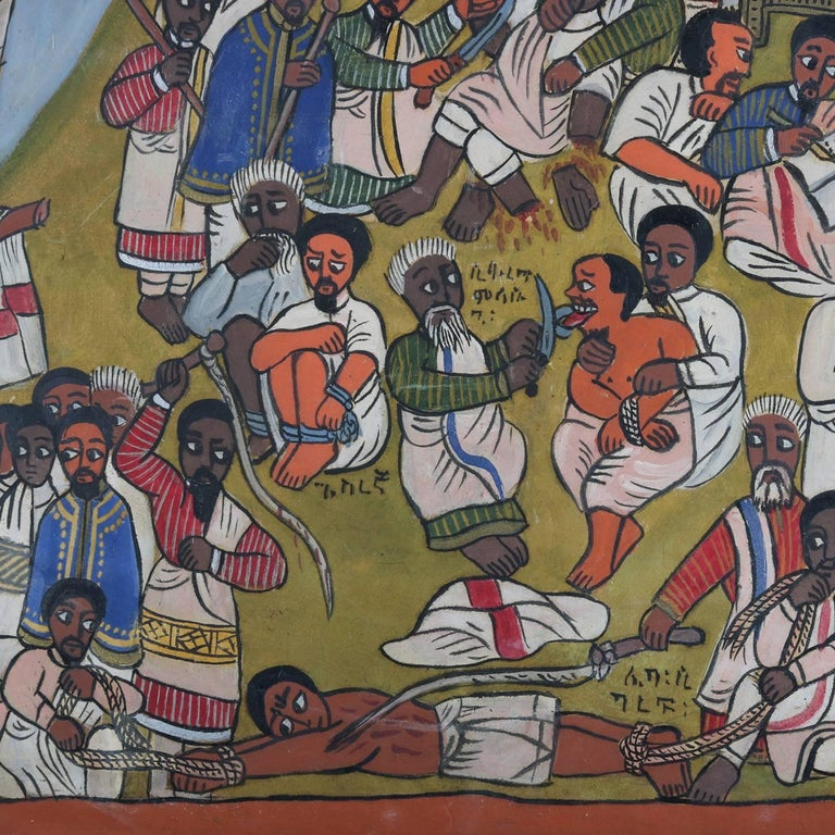 African Ethiopian Tribal Folk Art Oil on Hide Painting, 20th Century For Sale 3