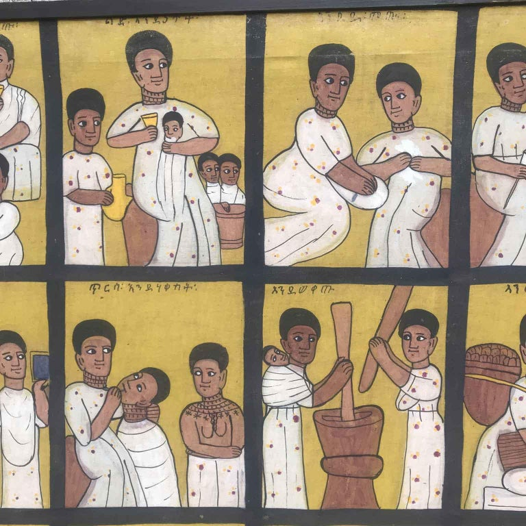 African Ethiopian Tribal Folk Art Painting 20th Century In Fair Condition For Sale In Milan, IT