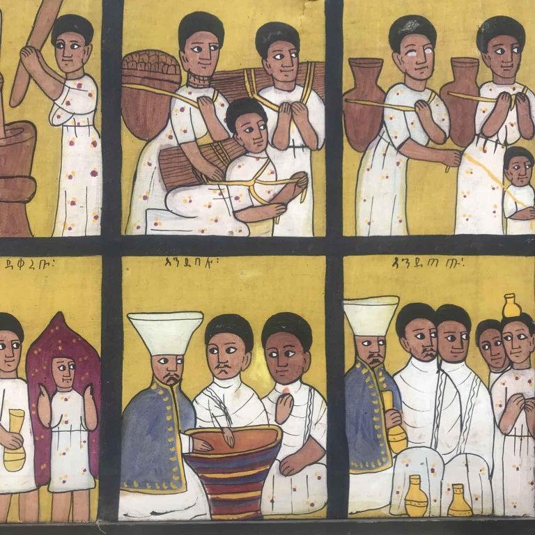 African Ethiopian Tribal Folk Art Painting 20th Century For Sale 3