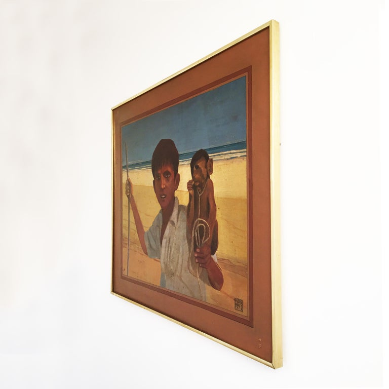 An exotic vintage painting signed by Alan Healey and painted in the 1970s, depicting a North African boy with his little monkey on his shoulder nearby the sea.