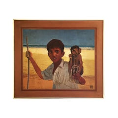 African Exotic Vintage Painting by Alan Healey 1970s Retro Boho Safari