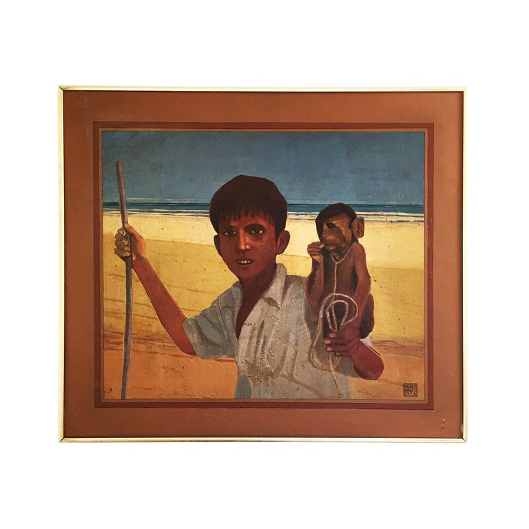 African Exotic Vintage Painting by Alan Healey 1970s Retro Boho Safari For Sale