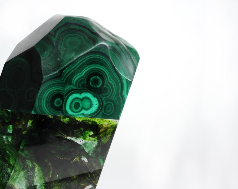 Meiosis, African malachite and glass sculpture from TYME collection, a collaboration by Orfeo Quagliata and Ernesto Durán.