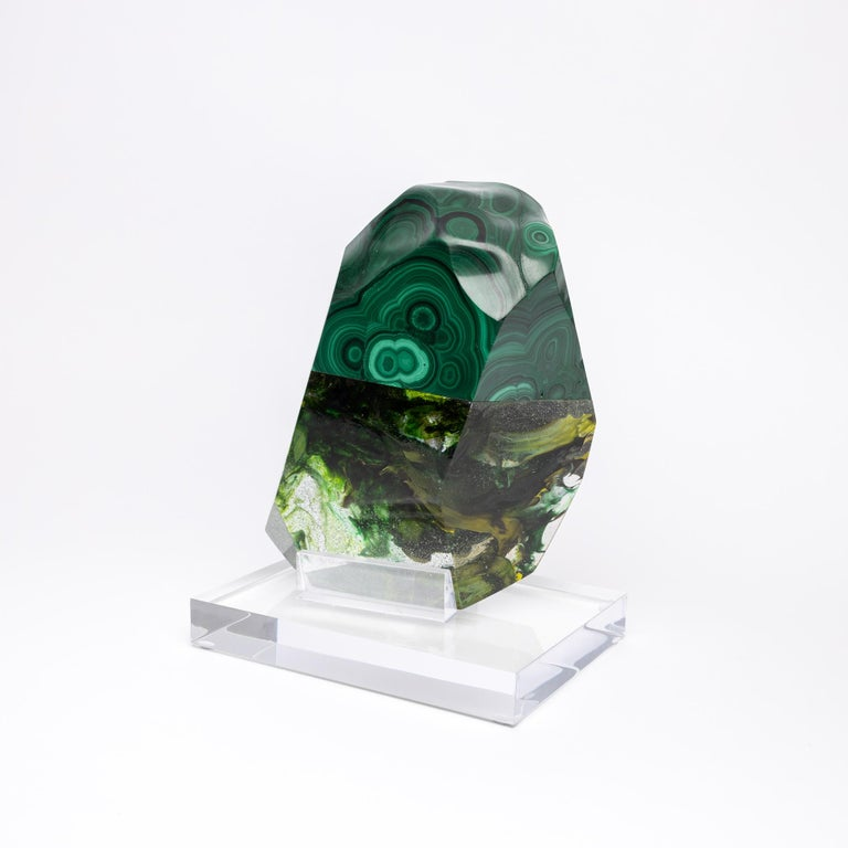 African Green Malachite and Organic Green Hues Glass Shape Sculpture For Sale 1
