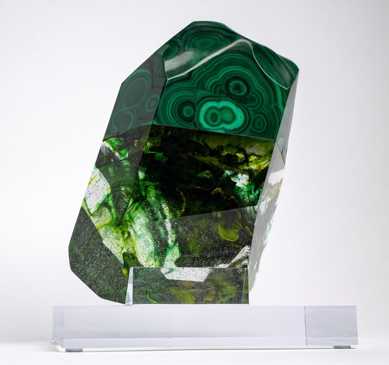 African Green Malachite and Organic Green Hues Glass Shape Sculpture For Sale 4