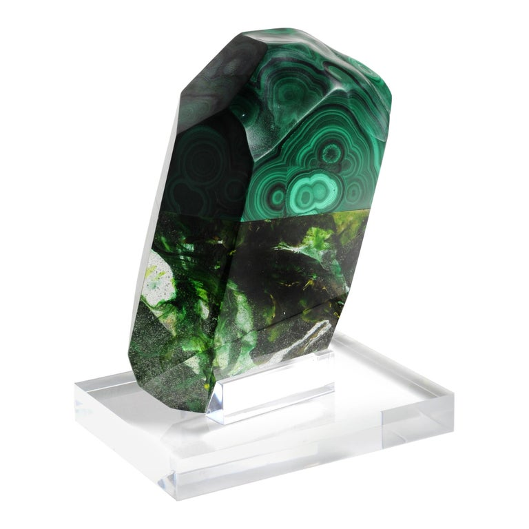 African Green Malachite and Organic Green Hues Glass Shape Sculpture For Sale