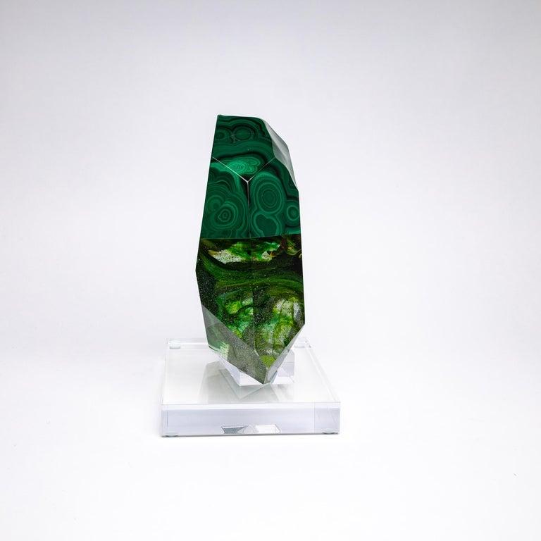 Organic Modern African Green Malachite and Green Shade Glass Organic Shape Sculpture