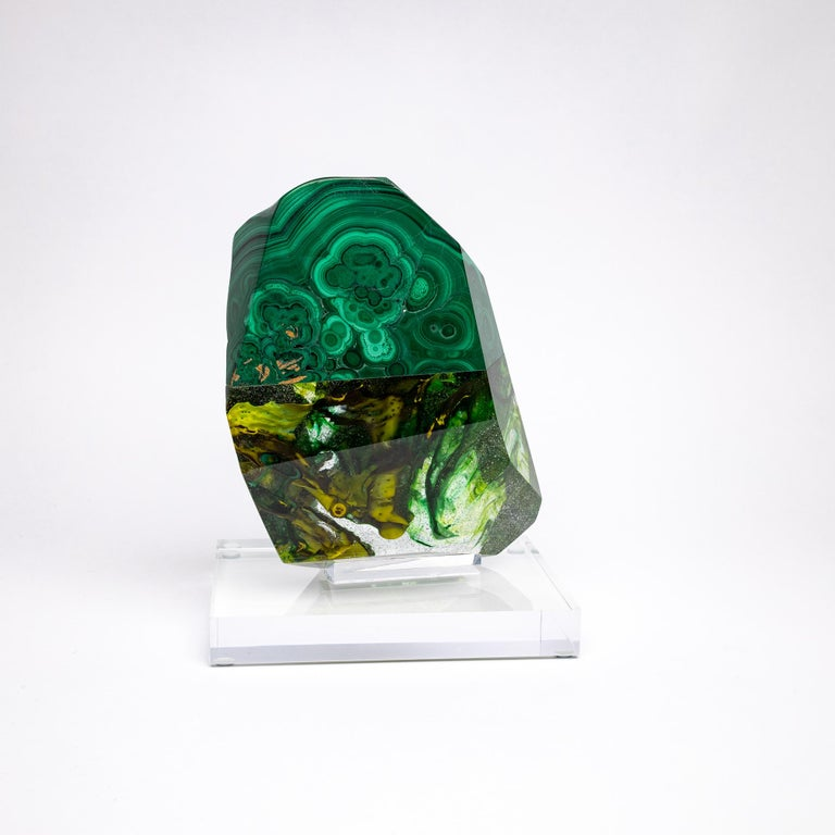 Mexican African Green Malachite and Green Shade Glass Organic Shape Sculpture