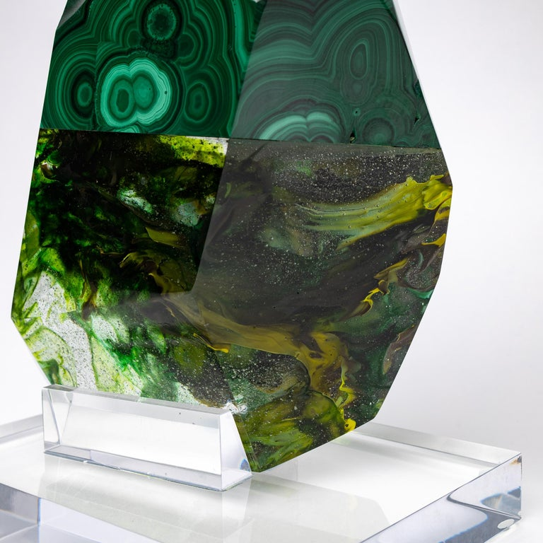 Contemporary African Green Malachite and Green Shade Glass Organic Shape Sculpture