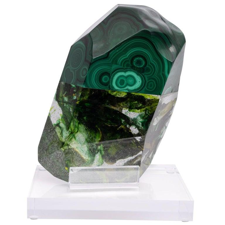 African Green Malachite and Green Shade Glass Organic Shape Sculpture