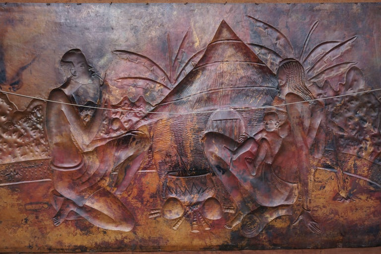 African Hammered Copper Wall Art Relief by Manzomba In Good Condition For Sale In Antwerp, BE