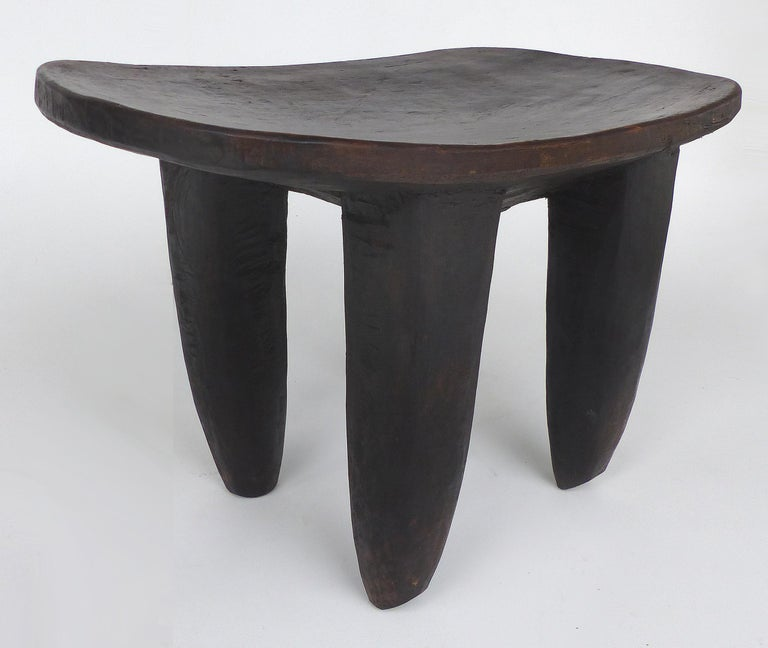 Ivorian African Hand Carved Senufo Stool from Cote d'Ivoire