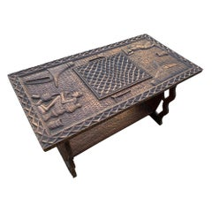 African Hand Carved Table Signed Kandando
