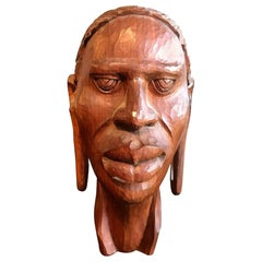 African Hand Carved Wood Head Bust Sculpture