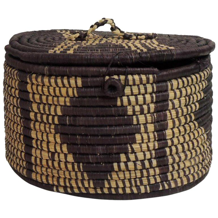 African Baskets With Lids: African Handwoven Oval Artisanal Basket With Lid For Sale