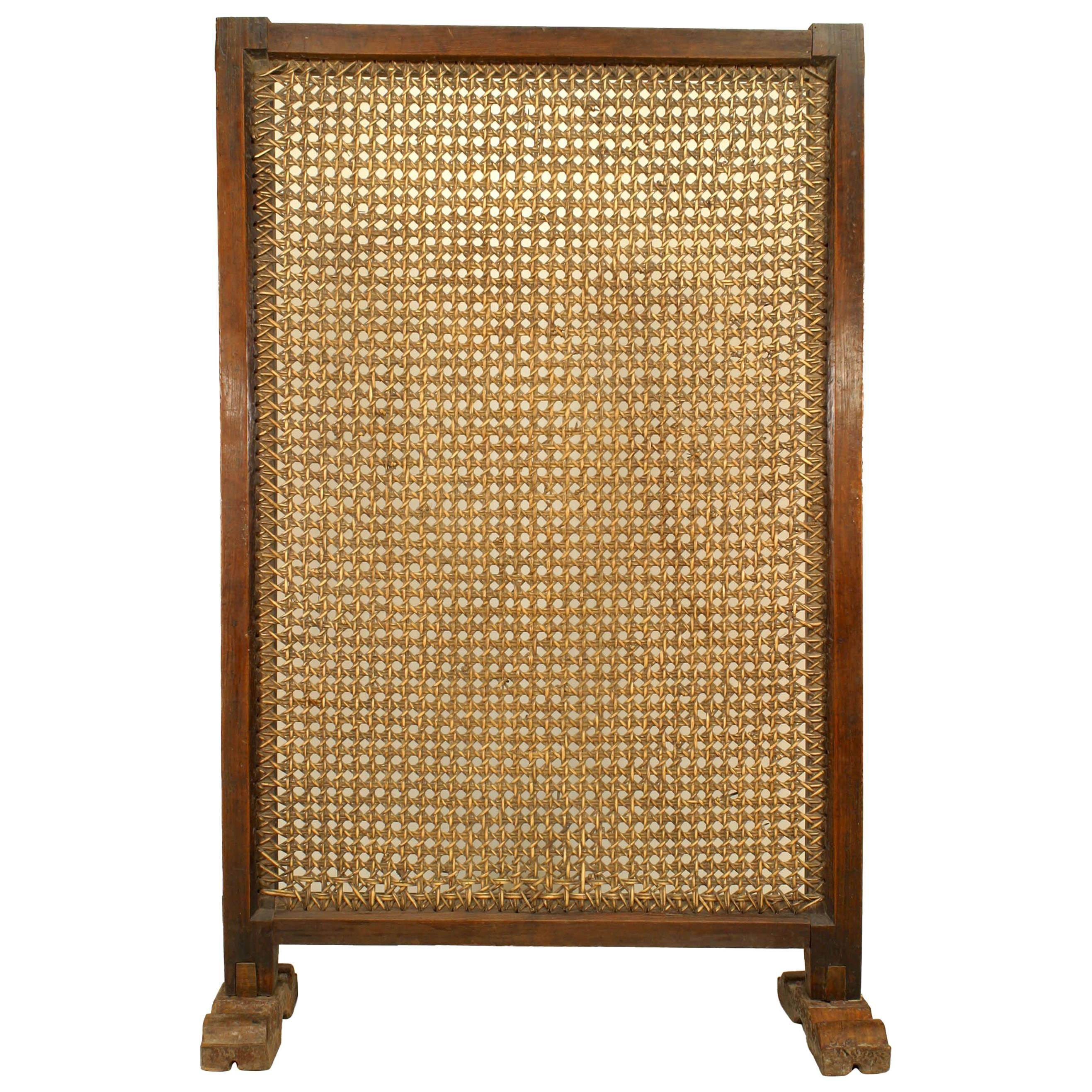 African Hardwood Screen with Wicker Panel