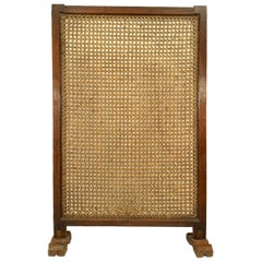 African Hardwood Framed Large Single Panel Screen on a Stand