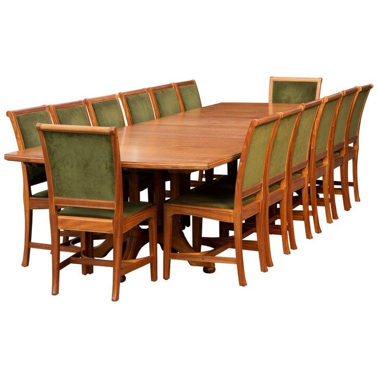 African Mahogany Dining Table And Chairs By Edward Barnsley England Circa 1956