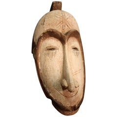 African Mask Carved in Wood, 20th Century