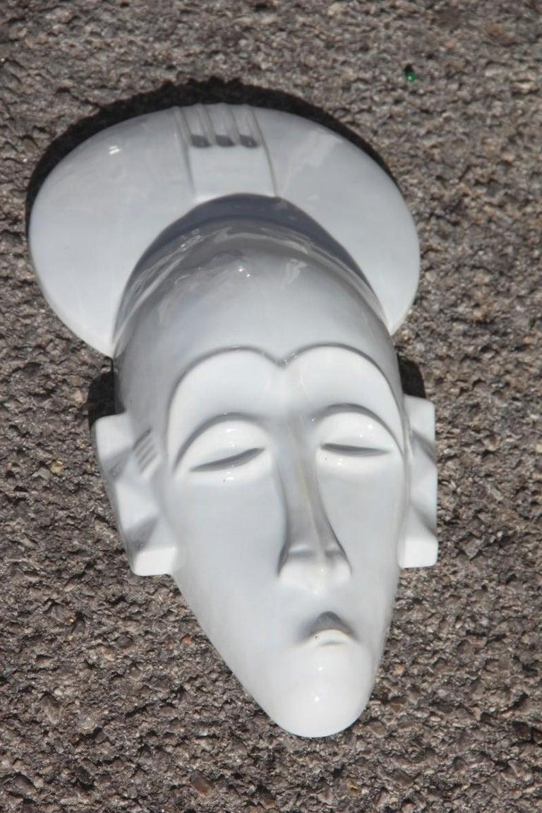 Modern African Mask in Hard Porcelain Glossy French Design 2010 Jean Dange Paris White For Sale