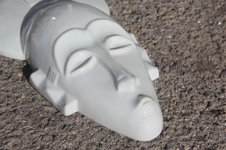 African Mask in Hard Porcelain Glossy French Design 2010 Jean Dange Paris White For Sale 1