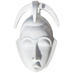African Mask in Hard Porcelain Glossy French Design 2010 Jean Dange Paris White