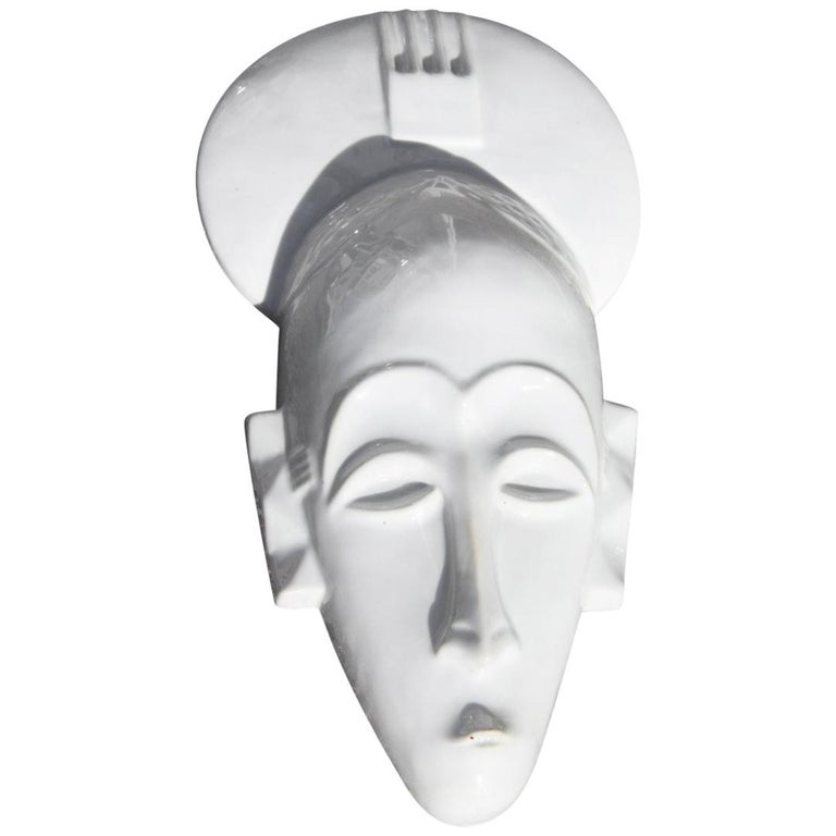 African Mask in Hard Porcelain Glossy French Design 2010 Jean Dange Paris White For Sale