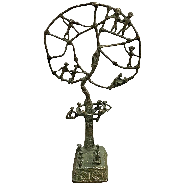"""African """"Monkey Tree"""" Bronze Sculpture"""