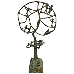 "African ""Monkey Tree"" Bronze Sculpture"