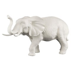 African Mother Elephant in Ceramic, white, Italy