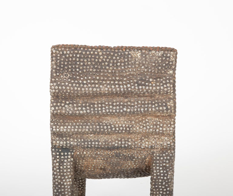 African Ngombe Studded Chair For Sale 3