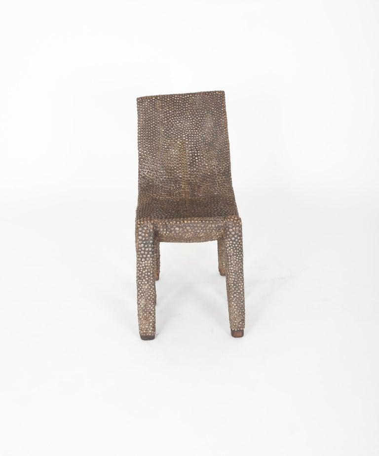 Folk Art African Ngombe Studded Chair For Sale