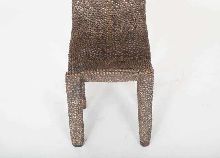 African Ngombe Studded Chair In Good Condition For Sale In Stamford, CT