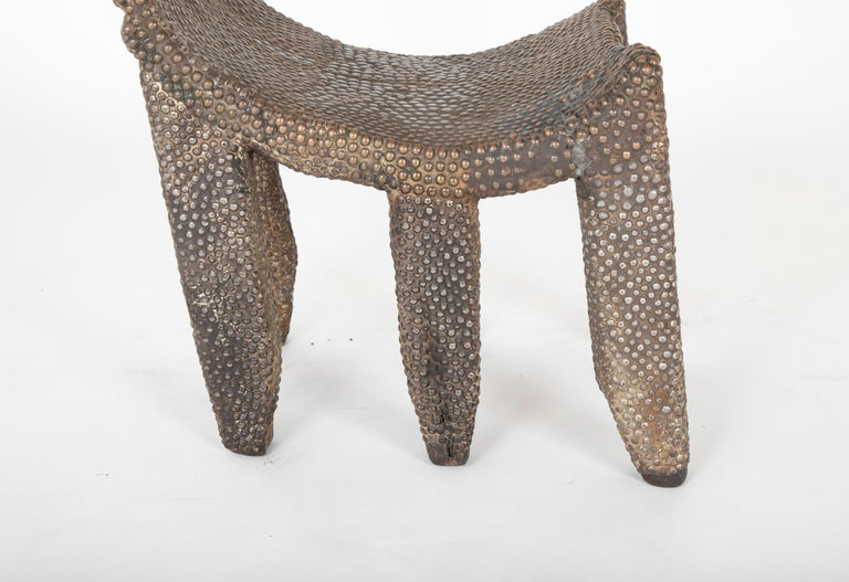 African Ngombe Studded Chair For Sale 1