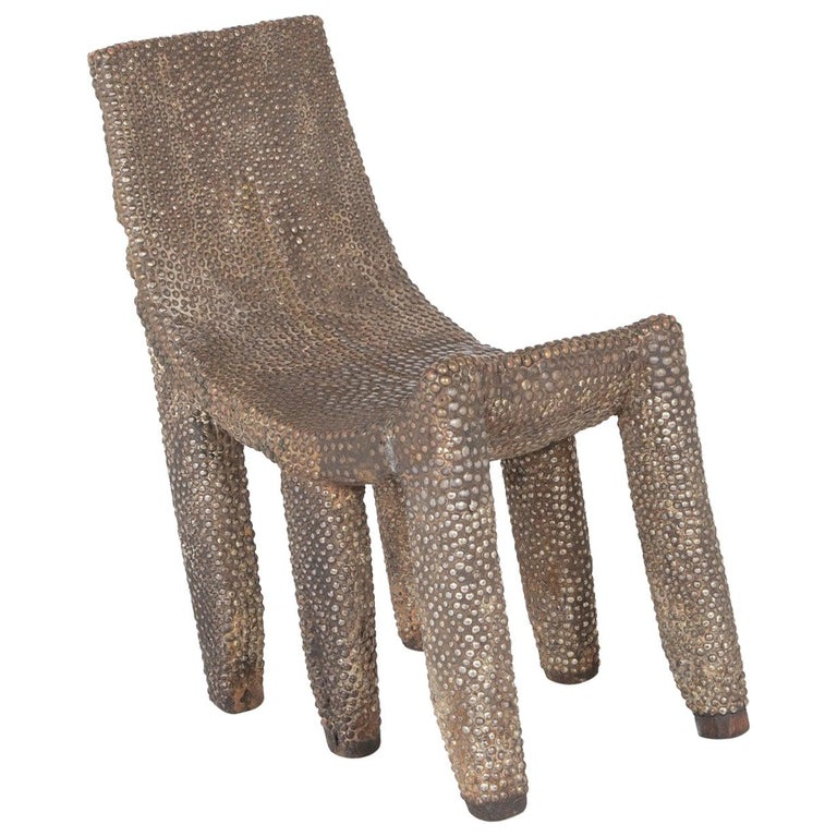African Ngombe Studded Chair For Sale