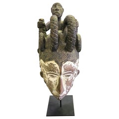 African 'Nigerian' Igbo Carved Maiden Mask Sculpture on Stand
