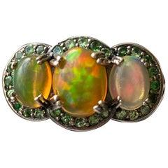 African Opal and Tsavorite Garnet Ring in Sterling Silver