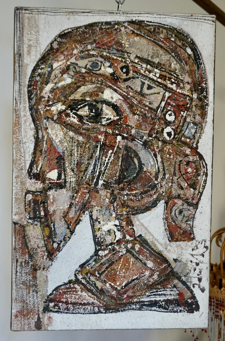 African painting stone on burlap by Adingra, 1983, France - Cote d'Ivoire. Measures: Height 61 cm, width 39 cm, depth 2 cm.